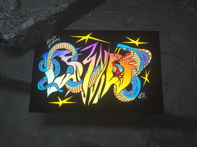 Innocent Cobra Sticker render custom font gradient stars cgi c4d dark concrete snake holographic sticker cobra