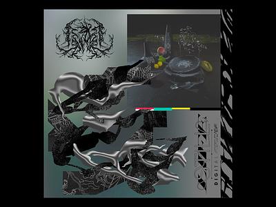 STILL LIFE composition geometry abstract type font meal metal logo dark black render experiment concept design illustration c4d 3d graphic design