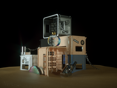 LOST STORAGE cgi adobe abstract modern glass chain texture octane sand beach box beer stickers render experiment concept design illustration c4d 3d