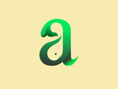a + whale logo concept