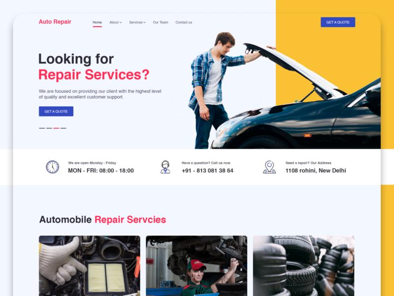 Automobile repair website ux research uxdesign responsive car ui autorepair uiux creative design homepage website uidesign