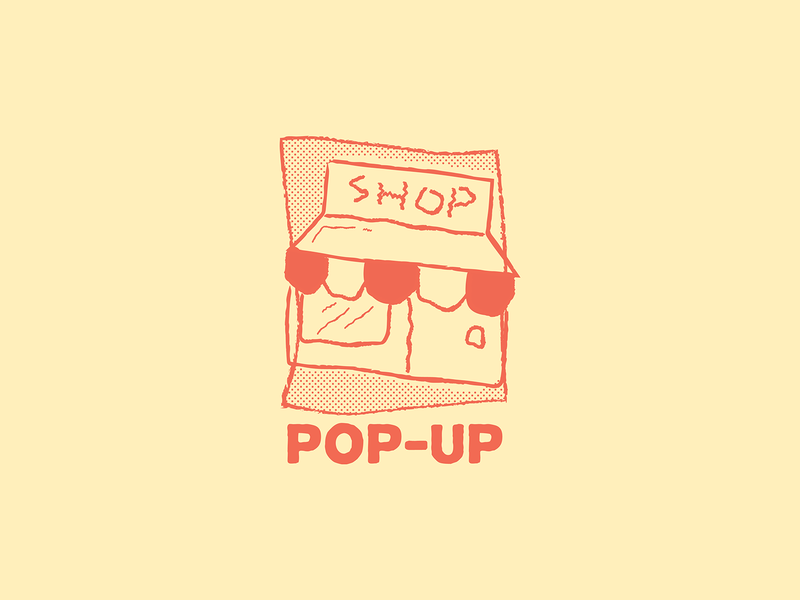 Pop-Up Shop halftone shop pop up shop pop up pop-up popup badge typography logo doodle drawing cartoon vector illustration