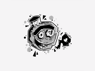 B&W Character #1 black and white halftones procreate graffiti halftone fun art character monster character design doodle drawing cartoon vector illustration