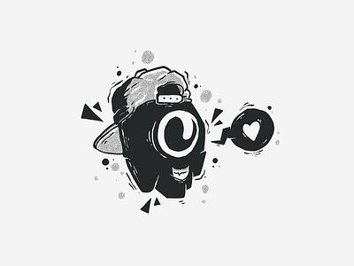 B&W Character #2 streetart graffiti blackandwhite heart love procreate halftones halftone black  white black and white fun art character monster character design doodle drawing cartoon vector illustration