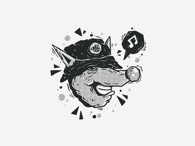 Black & White Character #4 music mouse black and white blackandwhite black  white black half tones half tone halftones halftone graffiti badge character monster character design doodle drawing cartoon vector illustration