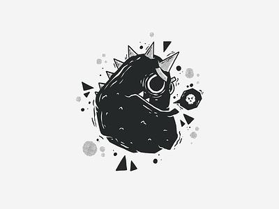 Black & White Character #5 dinosaur icon skull black and white blackandwhite black  white black half tone halftones halftone badge fun art character monster character design doodle drawing cartoon vector illustration