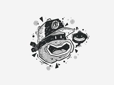 Black & White Character #7 halftones halftone black and white blackandwhite black  white black graffiti ninja turtles ninja turtle ninja badge fun art monster character character design doodle drawing cartoon vector illustration