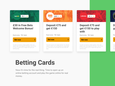 Betting Cards to promote best offers