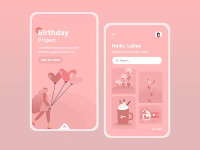 Birthday Project App Design inspiration application app design ui design uiux app ux branding illustration ui simple design graphics design design