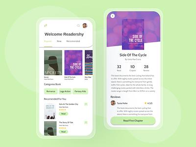 Readershy app mobile design ux ui reading app reader books designapp design application app design app