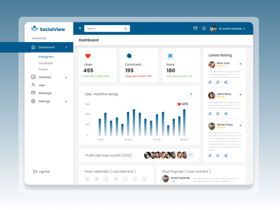 Dashboard - Social media management graphic design dashboard logo ux ui branding design web