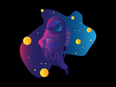 Relaxing floating in space calm vector illustration spaceship space