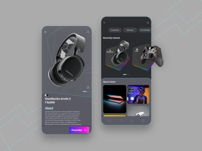 Myg - eCommerce gaming tec platform selling gaming home page home screen dashboard uiux design technology game ecommerce ui design illustration uiux presentation ios app android ux ui design
