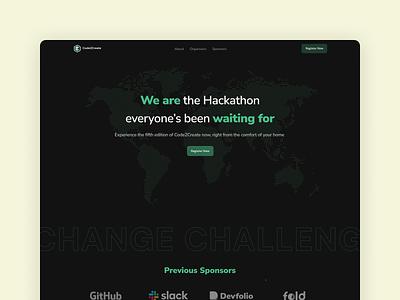 Hackathon Landing Page - Code2Create hackathon dark mode dark theme landingpage webdesign