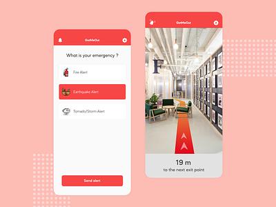 GetMeOut - Emergency Mobile App arkit ar augmented reality alert emergency ux ui ux design ui design mobile app design mobile design mobile ui mobile app mobile app