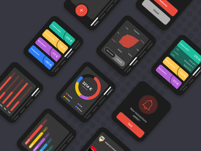 [Dark Mode] Personal Financial Management - WatchOS App ui ux ux design ui design ux ui dark app dark ui dark mode watchos watch wearable