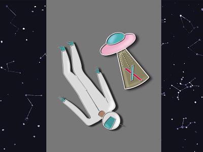 LivinnX pins ufo cosmos cosmonaut pin pins branding art logo design 2d art