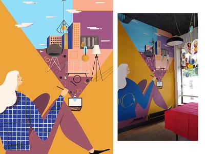 Decoroom handpainted mural muralart architect vector art design town 2d art illustration vectorart illustraion girl digitalart