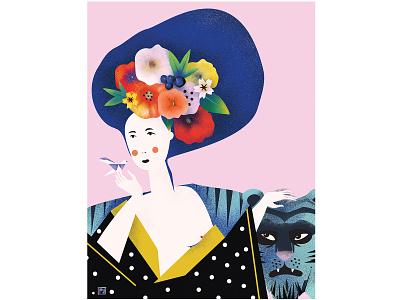 Geisha spring japan flower tiger geisha vector 2d art digitalart mood vectorart illustraion