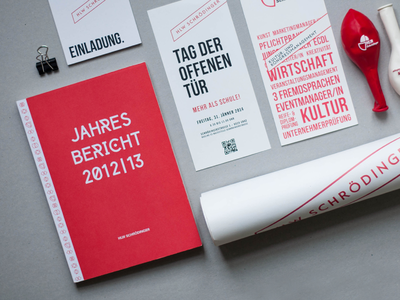 REDESIGN THE SCHOOL redesign secondary school red austria corporate identity editorial design fair stand graphic design posters flyer brochures invitation