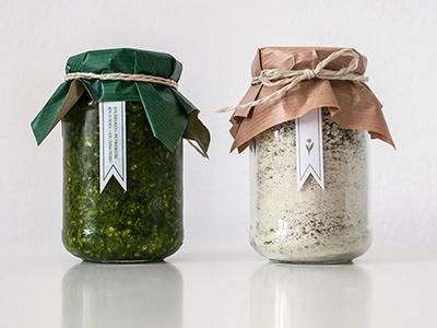 WILD GARLIC SALT & PEPPER II cardboard jute organic eco canning jar jar brown green nature natural colours passion spring