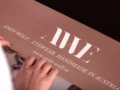 Corporate Design on Poster | AWE by Andy Wolf Eyewear poster billboard awe eyewear fashion design austria