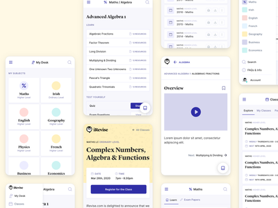 iRevise eLearning Web App - Mobile Designs product design ux uiux ui e-learning app
