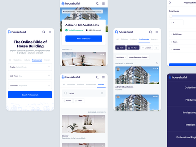 HouseBuild - Connecting Home Owners and Professionals mobile-web mobile web product-design ux ui