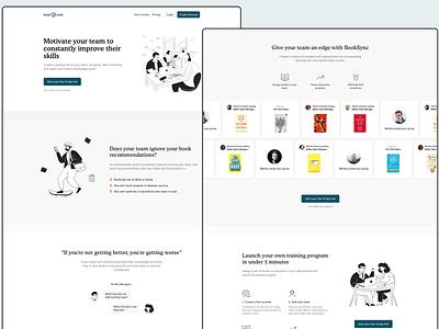 BookSync Website book club book clean illustration product-design landing page landing website