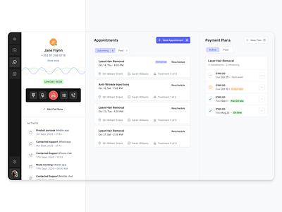 Call Centre App Concept design plans payments booking appointment booking appointment call-center dashboard web-app ui ux product-design