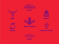 Metro Area Illustrations 2 illustrations icons city seattle tucson phoenix atlanta bc british columbia houston denver austin