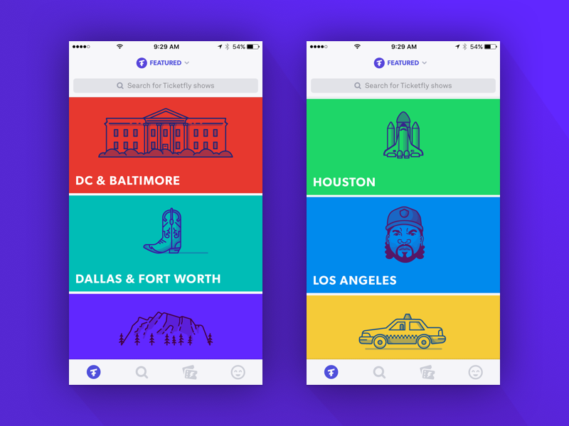Creating Illustrations for the Ticketfly iOS app city ice cube list cards product icon illustration