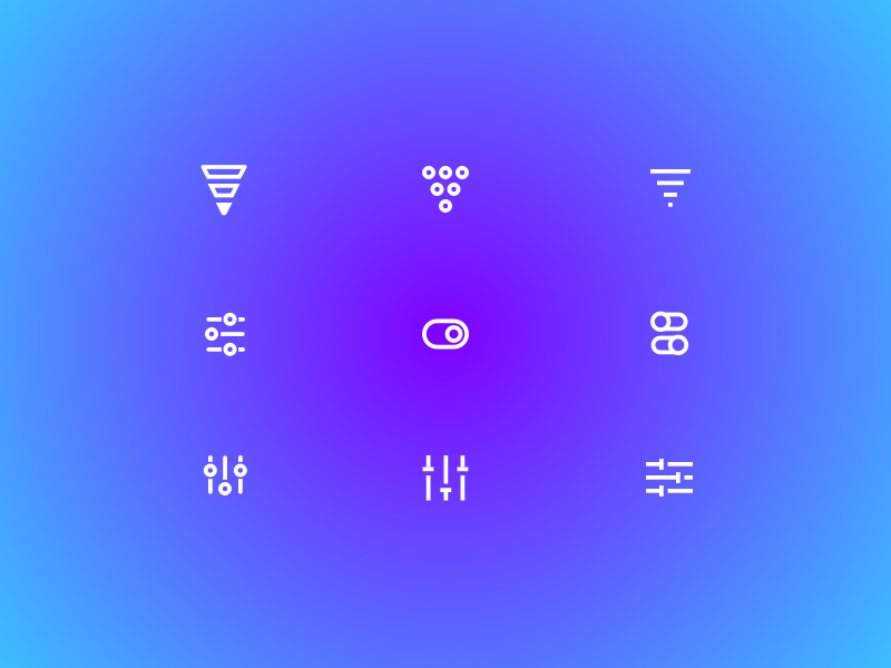 Rejected Filter Icons design product illustration icon style settings toggle filter icon