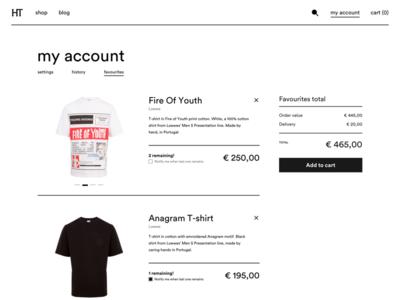Favourites page webshop sketch favourites store fashion ux ui web