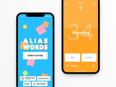 Alias Words ux game ui sketch design x iphone ios