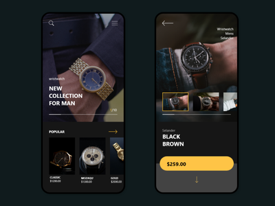 APP PURCHASE OF WATCHES typography ux ui design