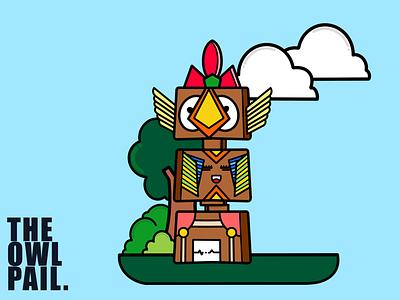Cute Totem Pole artwork procreate ipad design digital postcard sticker robot smile children cartoon illustration totem pole