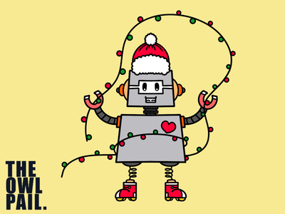 Christmas Robot cartoon cute festive peace love procreate ipad digital illustration lights santa christmas robot
