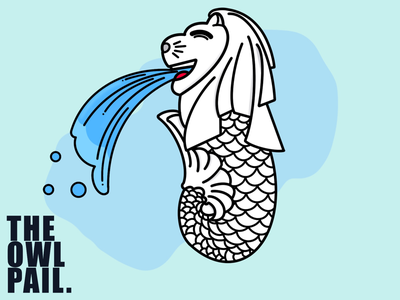 Merlion water national historical procreate ipad cute cartoon digital illustration icon singapore