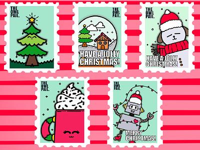 Christmas Stamps snowman celebration lights procreate ipad illustration tree snow globe chocolate dog robot christmas