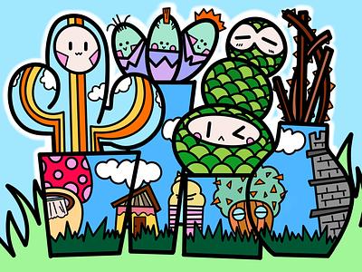 Team Cactus digital castle clouds cartoon mushroom rainbow procreate ipad illustration plants colours family cactus