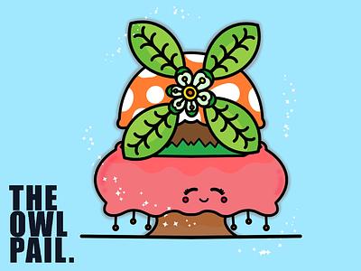 Windmill soothing happy calm cartoon digital procreate ipad illustration mushroom flowers nature windmill