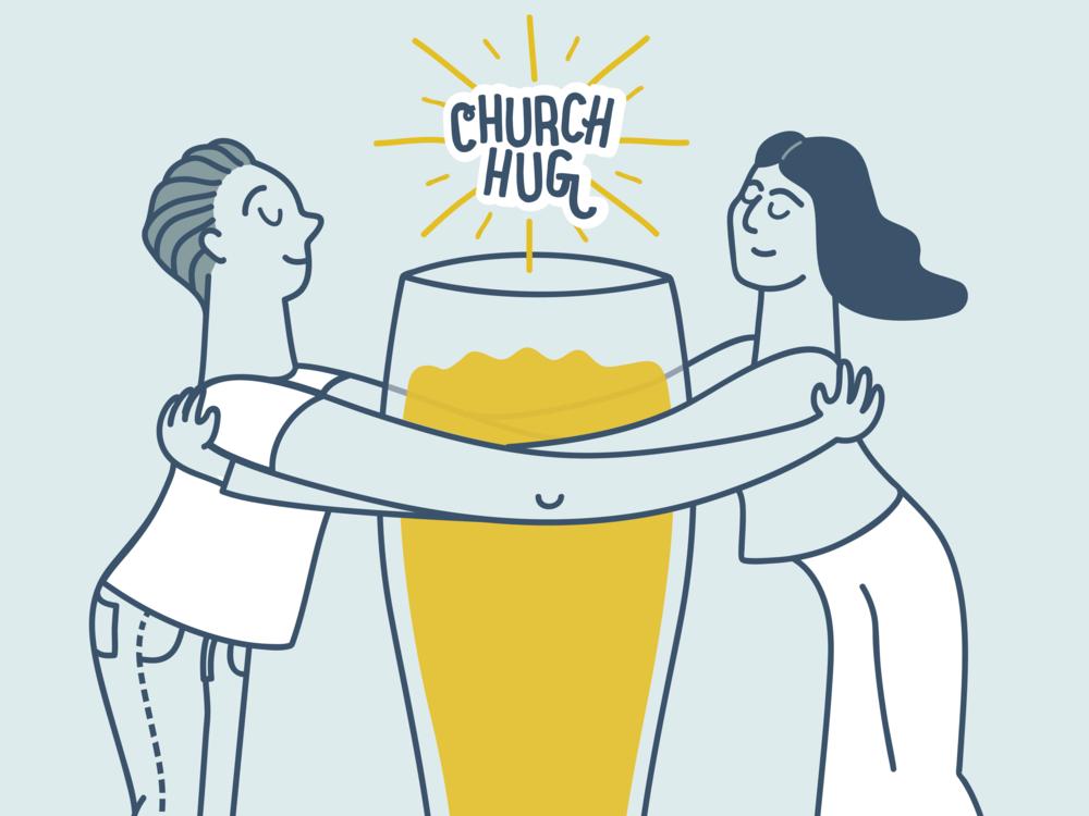 Church Hug Beer vector design digital illustration illustration illustrator beer label craftbeer beer