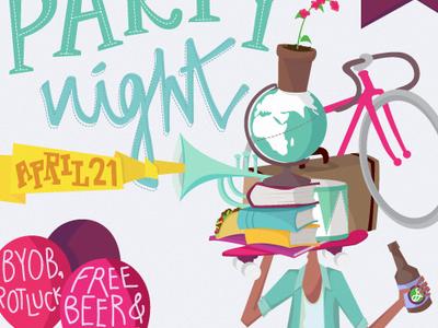 presentation party night party beer illustrator globe illustration flat