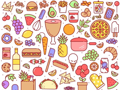 pantry taco pizza fruit pbr grocery icons flat food