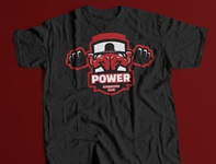 Power Strengths Club Concept Logo and T-Shirt Mockup