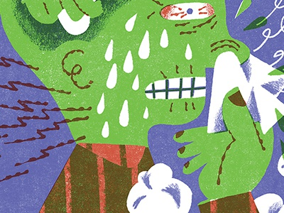 Have You Heard? This Guy Has A Cold editorial man flu illustration