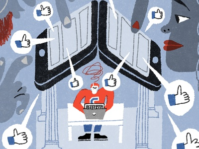 You Can't Go to College With Your Kid. facebook parents college editorial illustration illustration