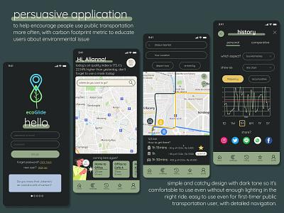 Public Transportation Persuasive Application maps navigation application carbon footprint persuasive application interfacedesign figma user interface app interface ux ui interface design design