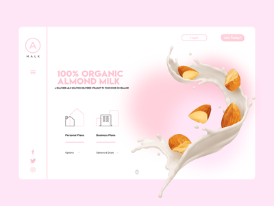 Malk Homepage - Almond Milk Delivery Concept ecommerce design ecommerce pink creative modern design 3d brand homepage design homepage modern new concept branding clean ui design dailyui